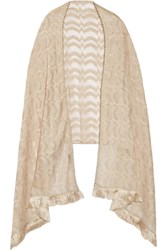 Missoni Fringed Embellished Metallic Crochet Knit Wrap Beige