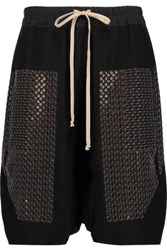 Rick Owens Sequined Wool Shorts Black