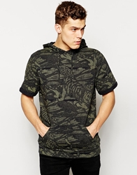 Pull And Bear Pullandbear Sweat With Hood In Camo Khaki