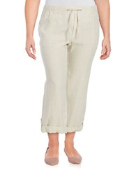 Lord And Taylor Plus Straight Leg Linen Pants Beige