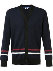 Comme Des Garcons Junya Watanabe Striped Trim Cardigan Blue