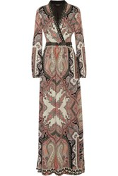 Etro Embellished Printed Silk Crepe Maxi Dress Multi