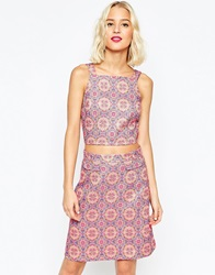 Asos Open Back Jaquard Crop Top Co Ord Multi