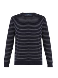 Polo Ralph Lauren Striped Cotton And Cashmere Blend Sweater Navy Multi