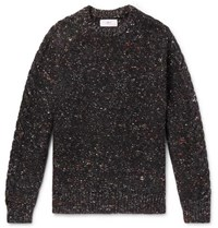 Mr P. Donegal Cable Knit Merino Wool Alpaca And Silk Blend Sweater Black