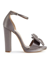 Reiss Vicky Bow Detail Satin Sandals In Grey