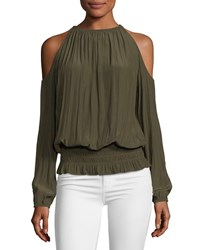 Ramy Brook Lauren Cold Shoulder Smocked Waist Top Green