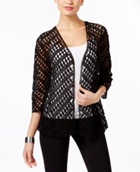 Alfani Cotton Crochet Open Front Cardigan Only At Macy's Deep Black