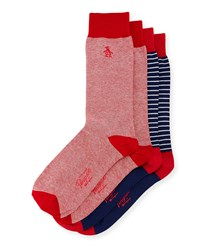 Penguin Arnason Striped Two Pack Sock Set Red Multi