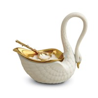 L'objet Swan Salt Cellar And Gold Plated Spoon White