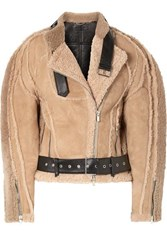 Peter Do Leather Trimmed Shearling Biker Jacket Beige