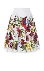 Karen Millen Floral Pleated Full Skirt White