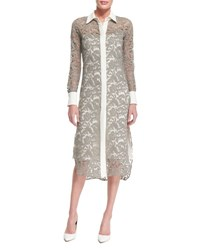 Adam By Adam Lippes Long Sleeve Lace Midi Shirtdress Nickel Ivory Nickle Ivory