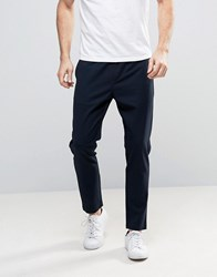 Selected Homme Cropped Tapered Trouser With Elasticated Waist Navy Blazer