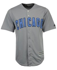 Majestic Chicago Cubs Fathers Day Cool Base Jersey Gray Lightblue