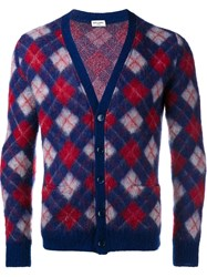Saint Laurent Argyle Cardigan Red