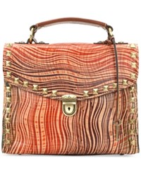 Patricia Nash Wavy Striped Simona Top Handle Small Satchel Wavy Striped Leather