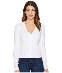 Three Dots Cropped Cardigan White Women's Sweater