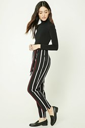 Forever 21 Striped Tie Waist Pants Black Wine