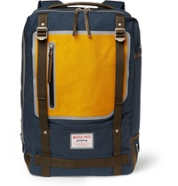 Master Piece Area Leather Trimmed Canvas Backpack Blue