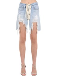 R 13 Destroyed Lace Up Cotton Denim Shorts Blue
