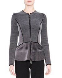 Giorgio Armani Zip Front Jewel Neck Fitted Jacket Navy Gray Navy Grey
