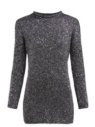 Saint Laurent Sequinned Knitted Mini Dress Silver