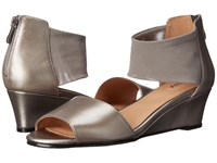 Trotters Maddy Pewter Dress Kid Leather Soft Mesh Stretch Women's Wedge Shoes