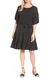 Bobeau Drop Waist Ruffle Cotton Dress Black