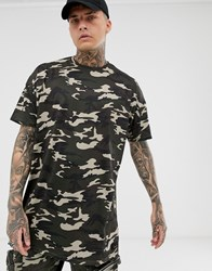 Liquor N Poker Oversized T Shirt In Camo Green
