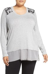 Melissa Mccarthy Seven7 Plus Size Women's Layer Look Embellished Top Heather Grey