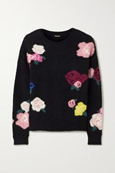 Adam By Adam Lippes Intarsia Mohair Blend Sweater Black