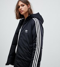 Adidas Originals Three Stripe Reversible Coat In Black