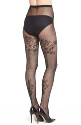 Women's Pretty Polly Floral Pattern Back Seam Fishnet Pantyhose