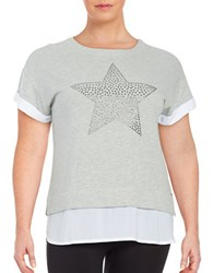 Marc New York Embellished Star Knit Top Grey