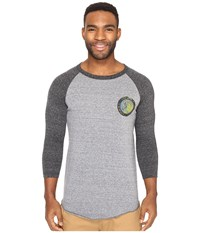 O'neill Outbound Raglan Long Sleeve Screens Impression T Shirt Grey Black Men's T Shirt Gray