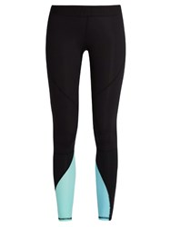 Salt Gypsy Contrast Panel Performance Leggings Black Blue