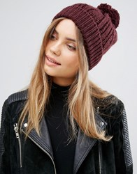 Warehouse Cable Knit Hat Berry Red