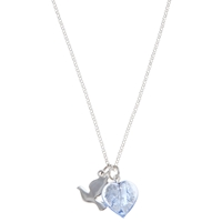 Martick Bohemian Heart And Dove Pendant Necklace Blue Silver