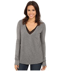 Stetson Rayon Knit V Neck Double Layer Tee Grey Women's T Shirt Gray
