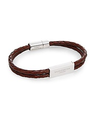 Tateossian Pop Scoubidou Medium Leather And Sterling Silver Id Bracelet Brown