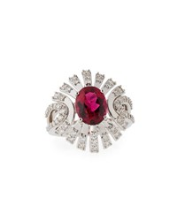 Vianna Brasil Rubelite And Diamond Ring In 18K White Gold