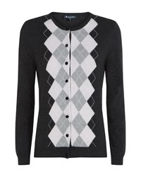 Aquascutum London Cashmere Argyll Knit Cardigan Charcoal