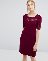 Vila Lace Insert Bodycon Dress Tawny Port Purple
