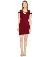 Christin Michaels Galia Strappy Bodycon Dress Burgundy Women's Dress
