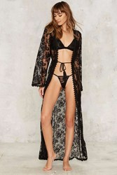 Down Under Lace Robe And G String Set Black