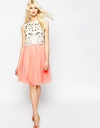 Needle And Thread Tulle Midi Skirt Orange