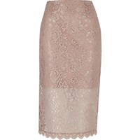 River Island Womens Pink Lace Pencil Skirt