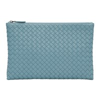 Bottega Veneta Blue Medium Intrecciato Biletto Pouch