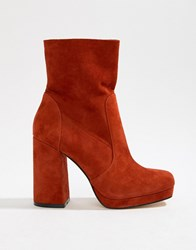 Office Aba Red Suede Block Heeled Boot Red Suede